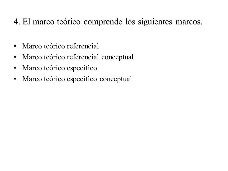 4. El marco teórico comprende los siguientes marcos. Marco teórico referencial Marco teórico referencial conceptual Marco teórico especifico Marco teó