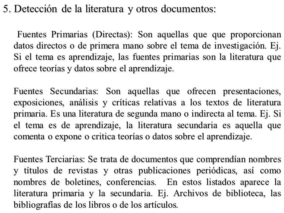 5. Detección de la literatura y otros documentos: Fuentes Primarias (Directas): Son aquellas que que proporcionan datos directos o de primera mano sob