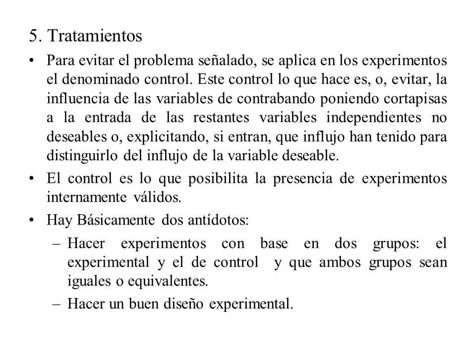 5. Tratamientos Para evitar el problema señalado, se aplica en los experimentos el denominado control. Este control lo que hace es, o, evitar, la infl