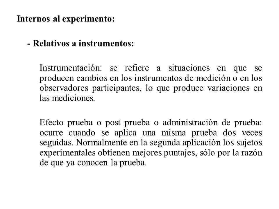 Internos al experimento: - Relativos a instrumentos: Instrumentación: se refiere a situaciones en que se producen cambios en los instrumentos de medic