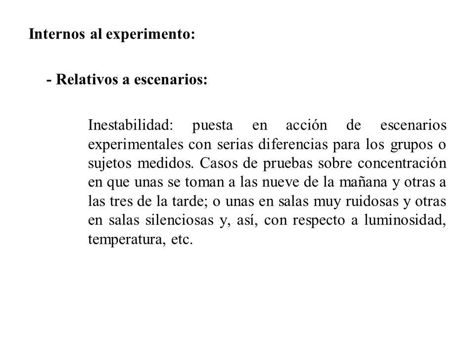 Internos al experimento: - Relativos a escenarios: Inestabilidad: puesta en acción de escenarios experimentales con serias diferencias para los grupos