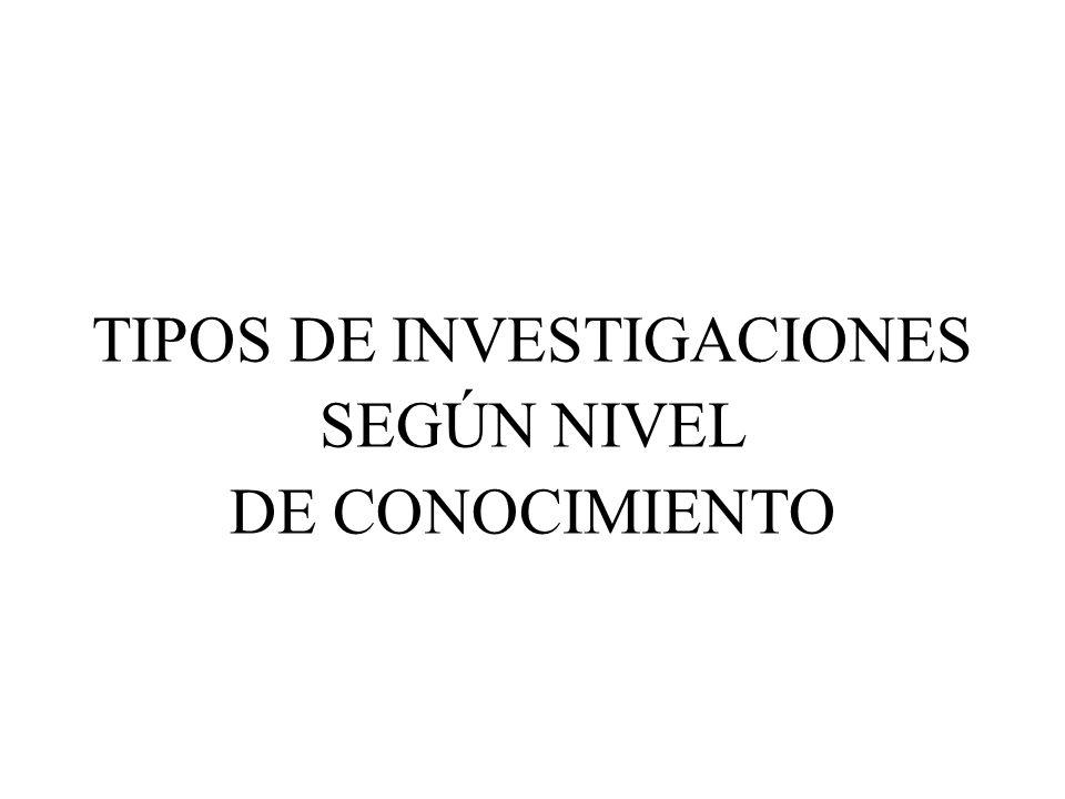 TIPOS DE INVESTIGACIONES SEGÚN NIVEL DE CONOCIMIENTO