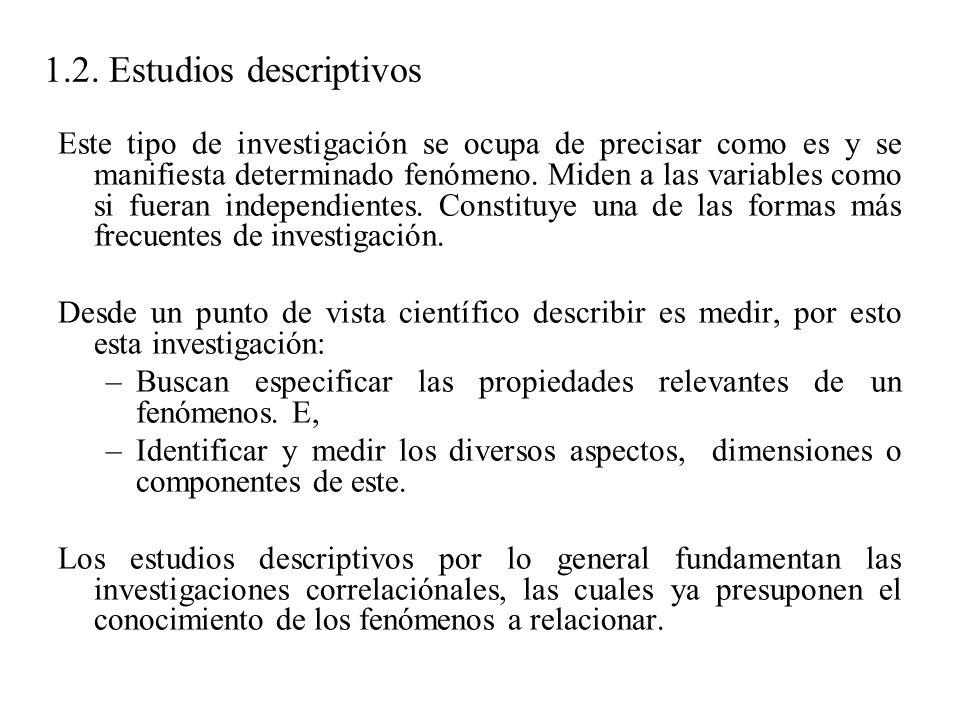 1.2. Estudios descriptivos Este tipo de investigación se ocupa de precisar como es y se manifiesta determinado fenómeno. Miden a las variables como si