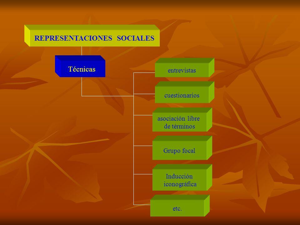 REPRESENTACIONES SOCIALES Técnicas entrevistas cuestionarios asociación libre de términos Grupo focal Inducción iconográfica etc.