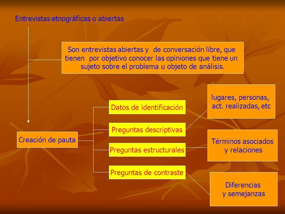Entrevistas etnográficas o abiertas Son entrevistas abiertas y de conversación libre, que tienen por objetivo conocer las opiniones que tiene un sujet