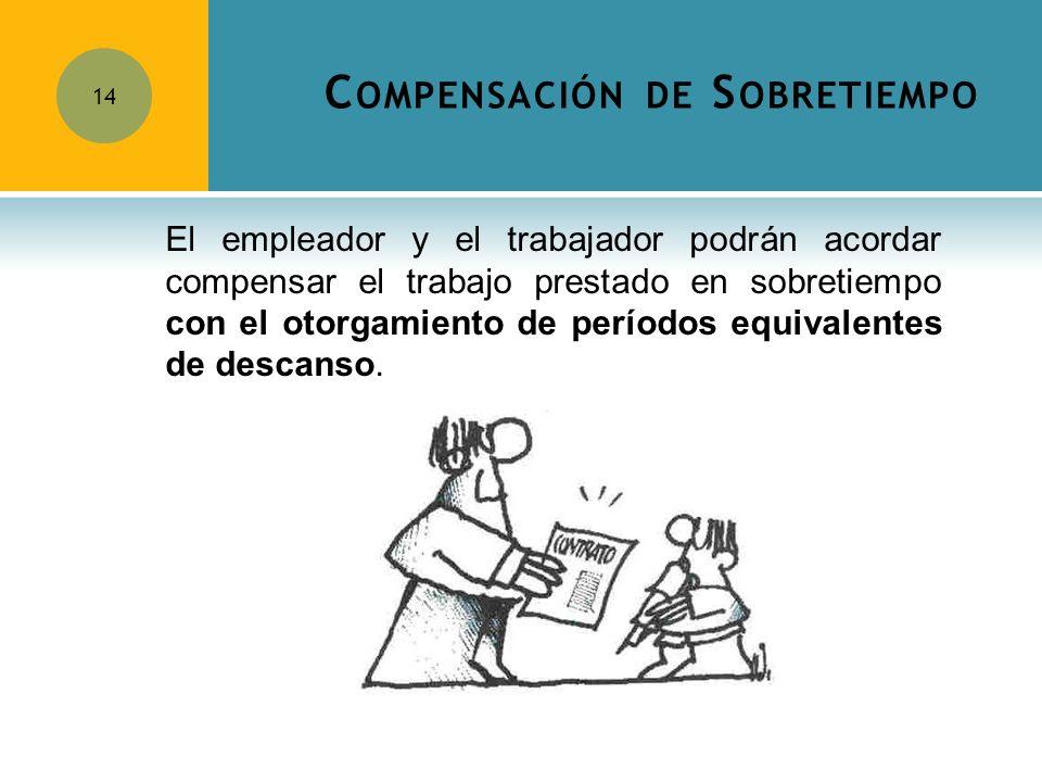 C OMPENSACIÓN DE S OBRETIEMPO 14 El empleador y el trabajador podrán acordar compensar el trabajo prestado en sobretiempo con el otorgamiento de perío