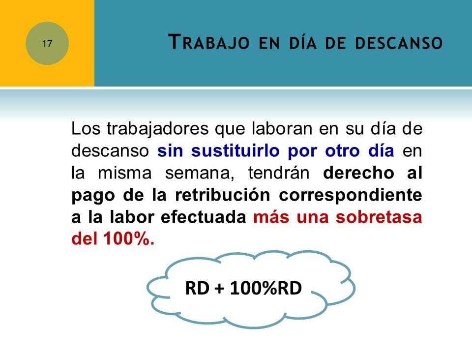 T RABAJO EN DÍA DE DESCANSO 17 Los trabajadores que laboran en su día de descanso sin sustituirlo por otro día en la misma semana, tendrán derecho al