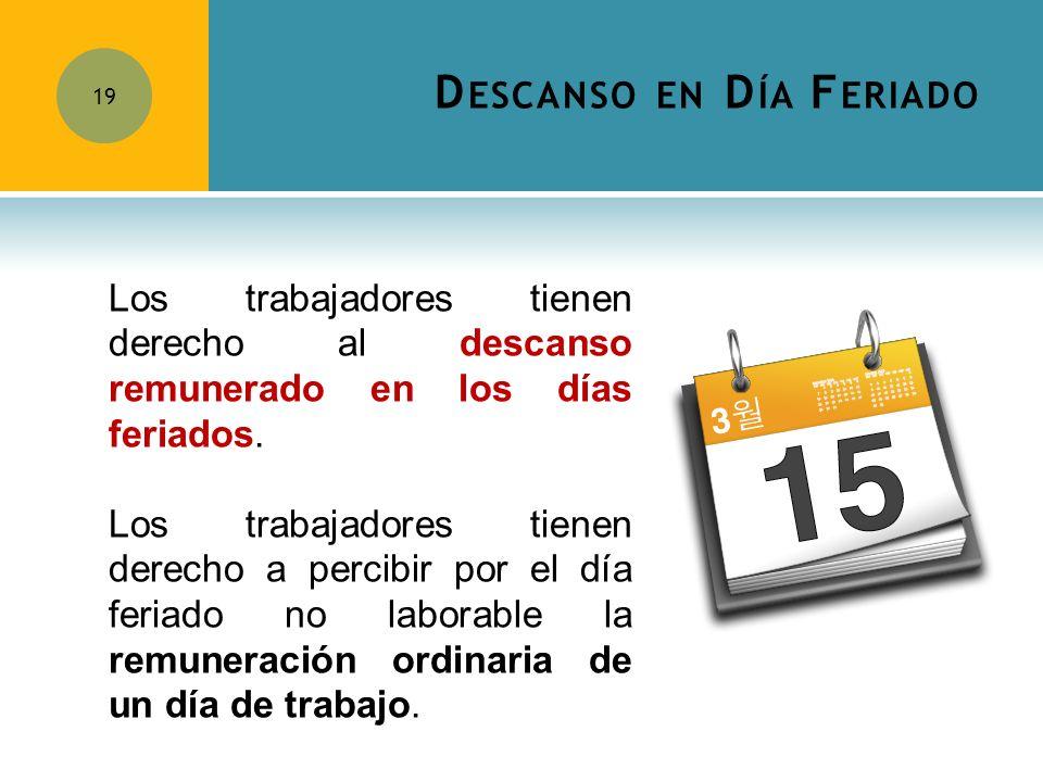 D ESCANSO EN D ÍA F ERIADO 19 Los trabajadores tienen derecho al descanso remunerado en los días feriados. Los trabajadores tienen derecho a percibir