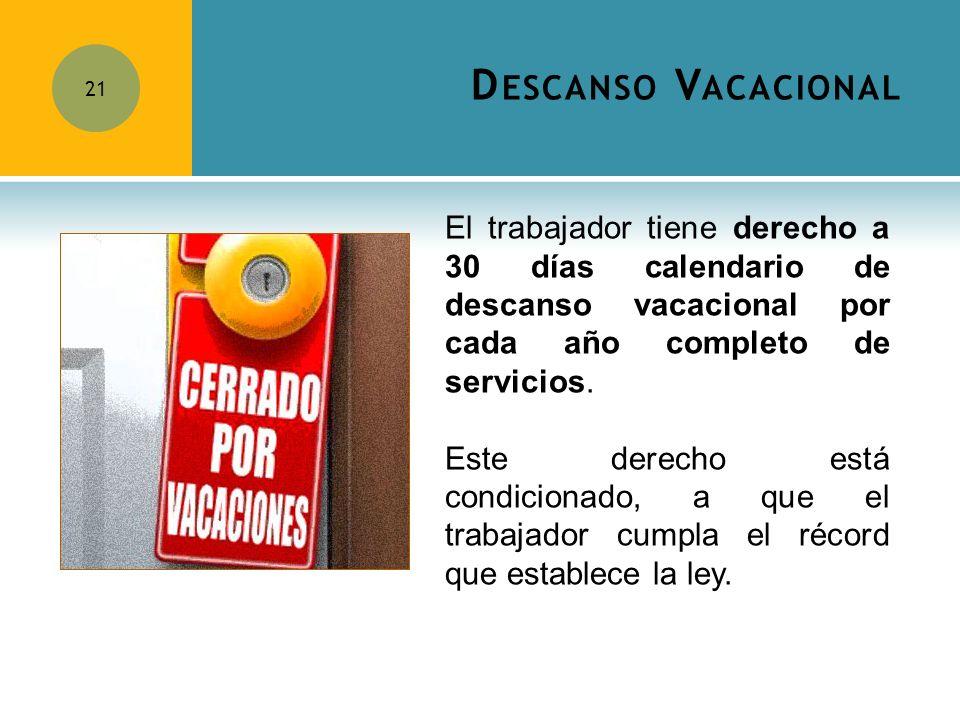 D ESCANSO V ACACIONAL 21 El trabajador tiene derecho a 30 días calendario de descanso vacacional por cada año completo de servicios. Este derecho está