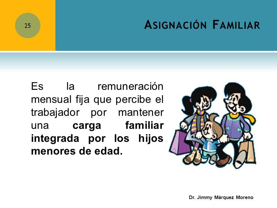 A SIGNACIÓN F AMILIAR 25 Es la remuneración mensual fija que percibe el trabajador por mantener una carga familiar integrada por los hijos menores de