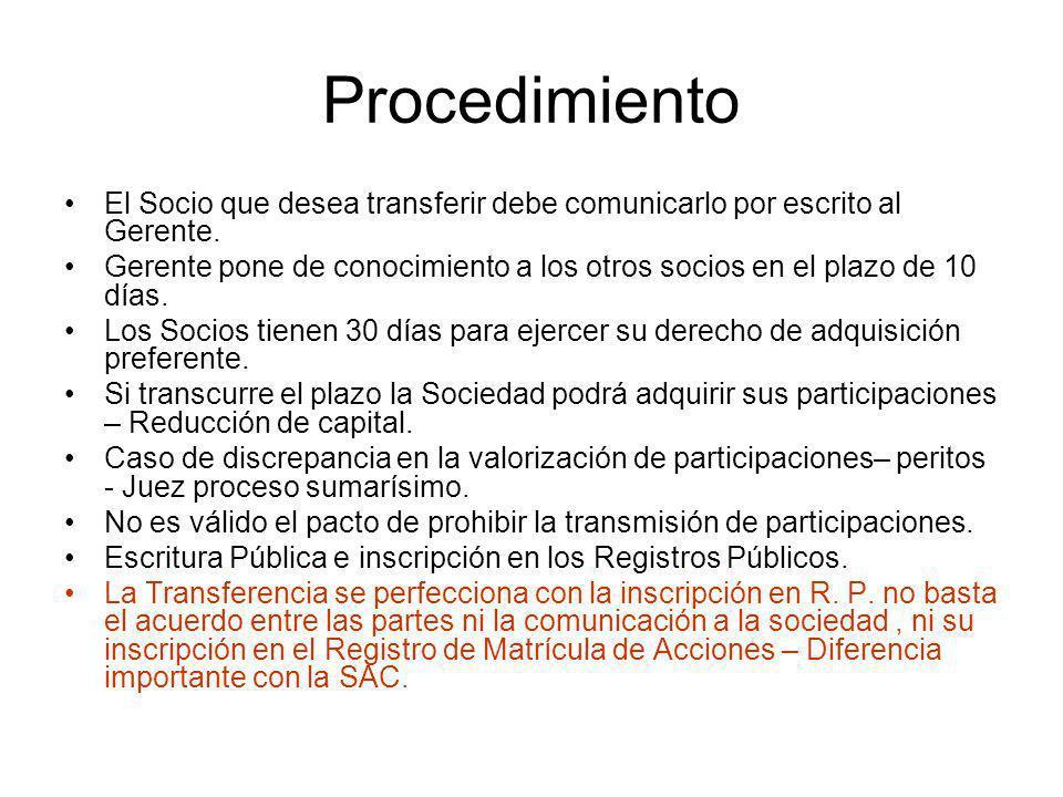 Procedimiento El Socio que desea transferir debe comunicarlo por escrito al Gerente. Gerente pone de conocimiento a los otros socios en el plazo de 10