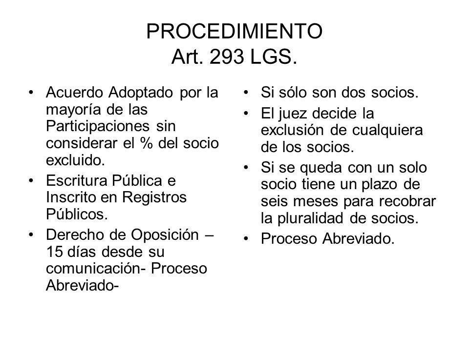 PROCEDIMIENTO Art. 293 LGS. Acuerdo Adoptado por la mayoría de las Participaciones sin considerar el % del socio excluido. Escritura Pública e Inscrit
