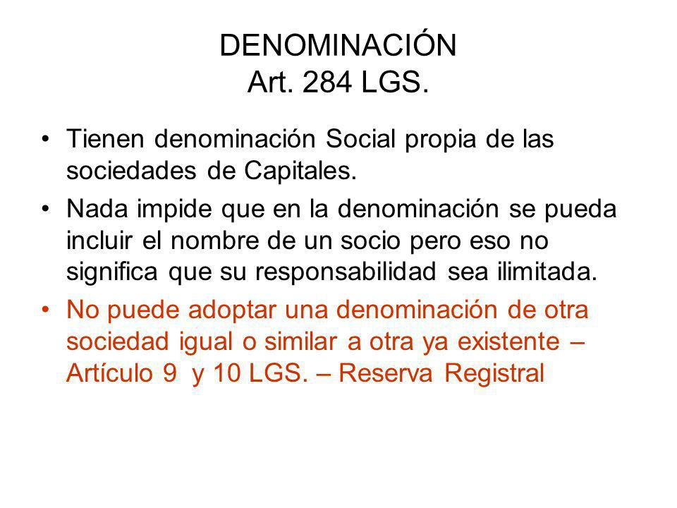 CAPITAL SOCIAL ART.285 LGS.