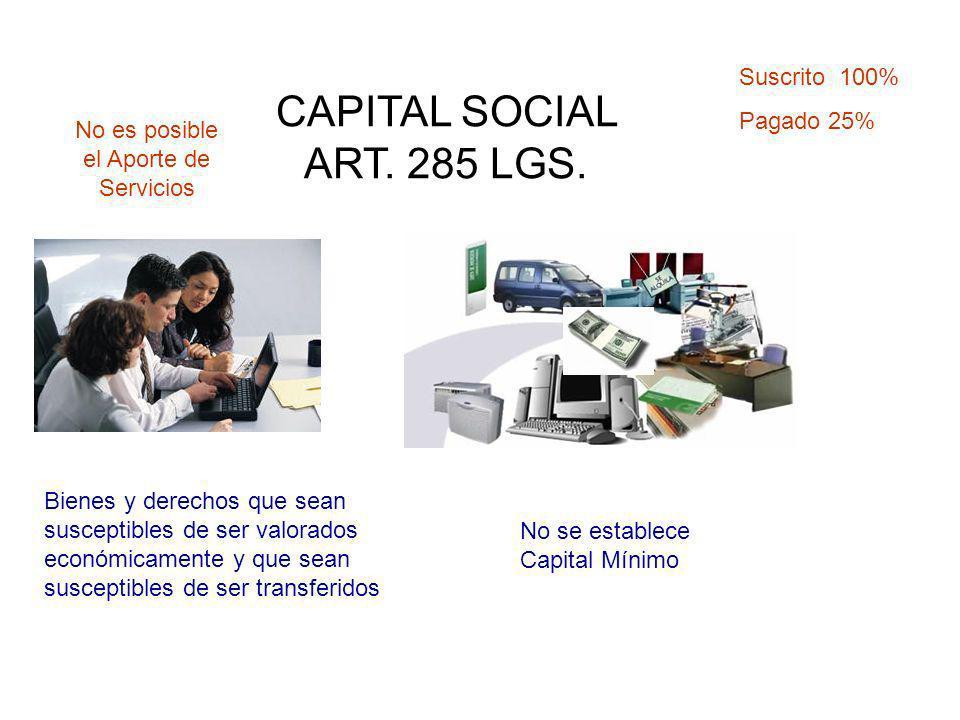 CAPITAL SOCIAL ART. 285 LGS. Bienes y derechos que sean susceptibles de ser valorados económicamente y que sean susceptibles de ser transferidos No es