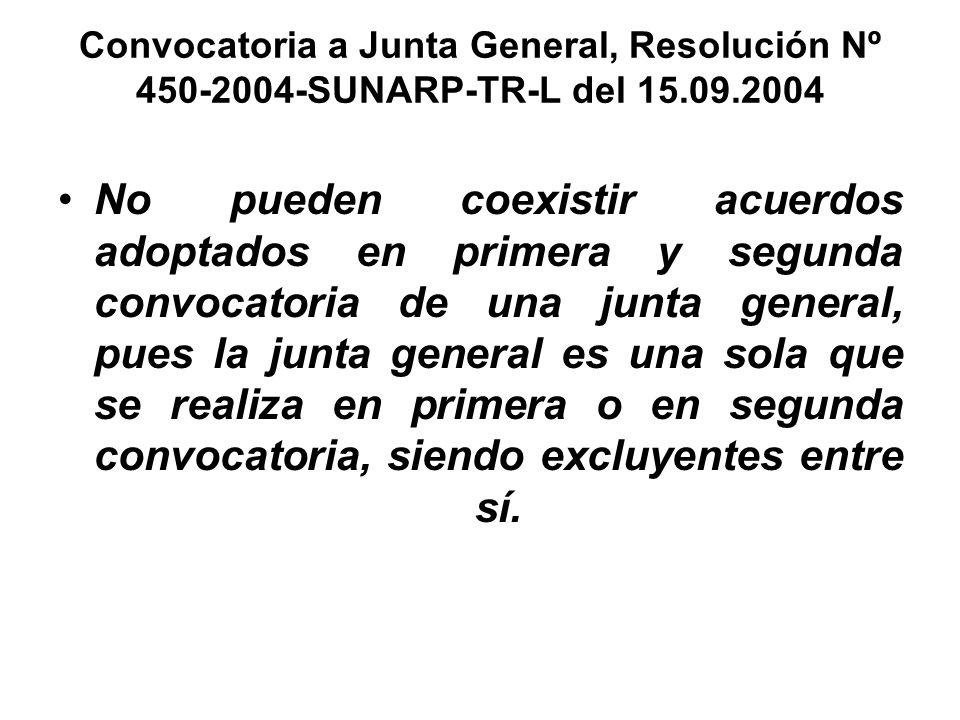 Convocatoria a Junta General, Resolución Nº 450-2004-SUNARP-TR-L del 15.09.2004 No pueden coexistir acuerdos adoptados en primera y segunda convocator