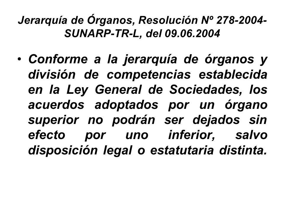 Jerarquía de Órganos, Resolución Nº 278-2004- SUNARP-TR-L, del 09.06.2004 Conforme a la jerarquía de órganos y división de competencias establecida en