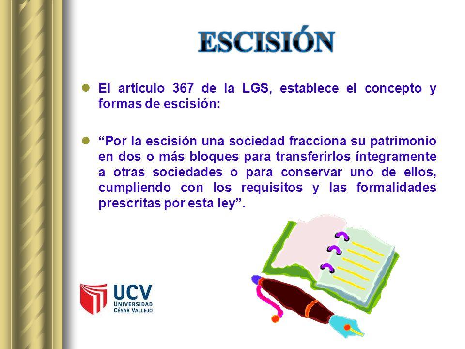 El artículo 367 de la LGS, establece el concepto y formas de escisión: Por la escisión una sociedad fracciona su patrimonio en dos o más bloques para