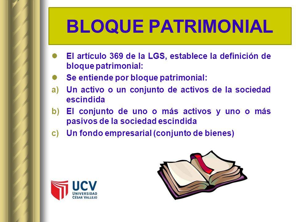 BLOQUE PATRIMONIAL El artículo 369 de la LGS, establece la definición de bloque patrimonial: Se entiende por bloque patrimonial: a)Un activo o un conj