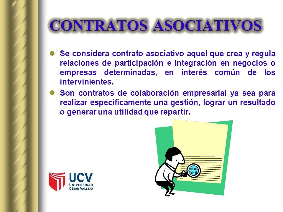 Se considera contrato asociativo aquel que crea y regula relaciones de participación e integración en negocios o empresas determinadas, en interés com