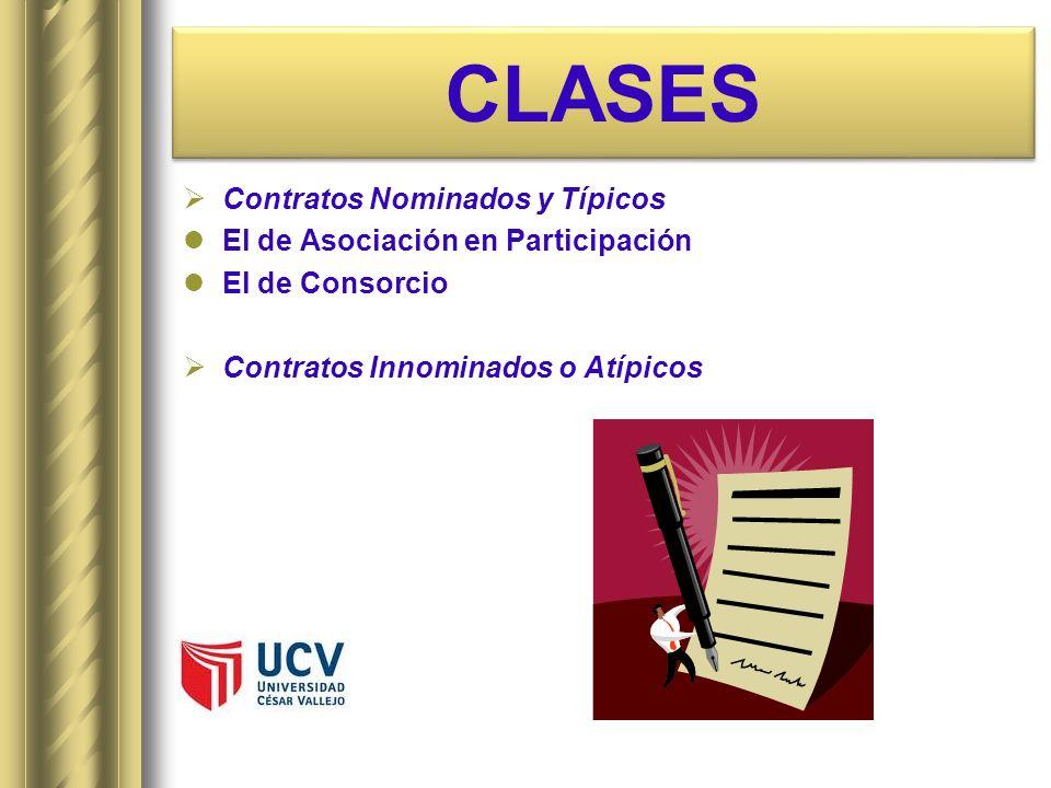 CLASES Contratos Nominados y Típicos El de Asociación en Participación El de Consorcio Contratos Innominados o Atípicos