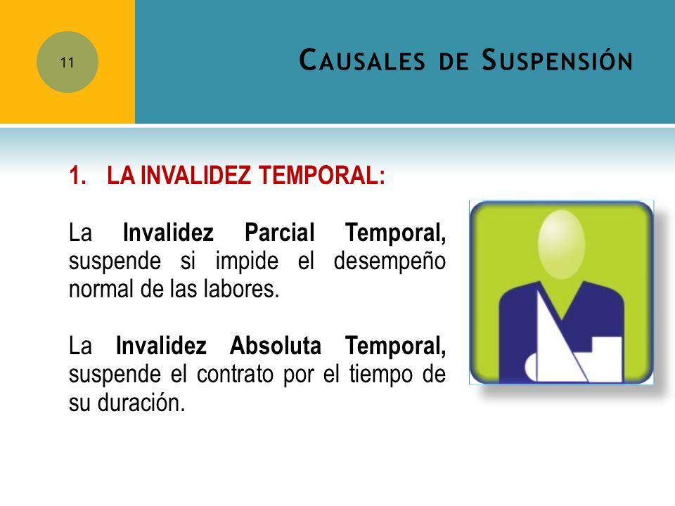 C AUSALES DE S USPENSIÓN 11 1.LA INVALIDEZ TEMPORAL: La Invalidez Parcial Temporal, suspende si impide el desempeño normal de las labores. La Invalide