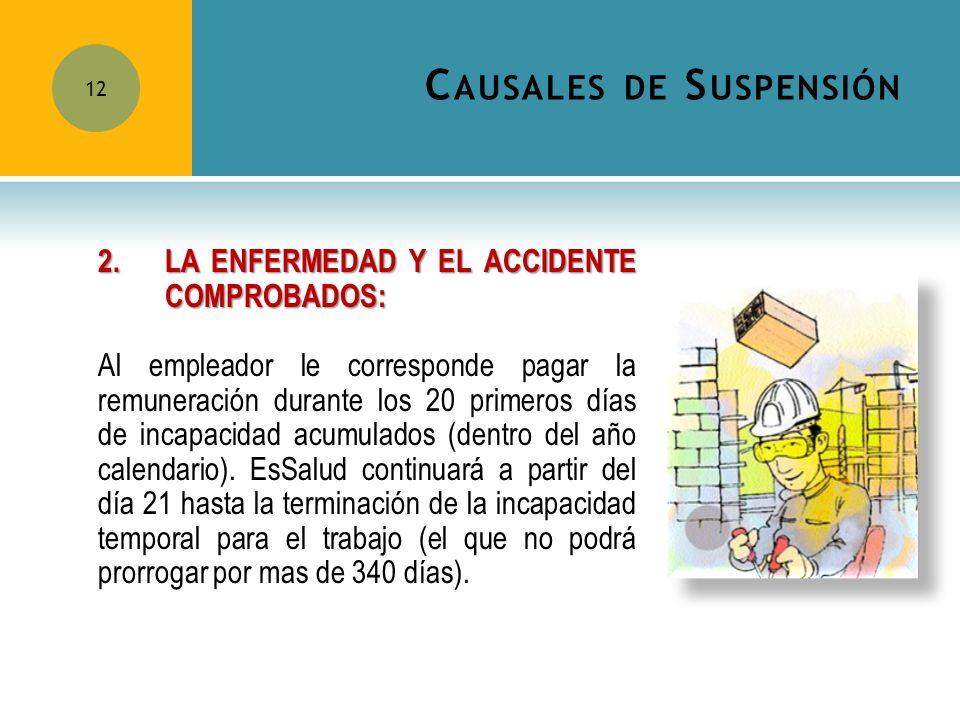 C AUSALES DE S USPENSIÓN 12 2.LA ENFERMEDAD Y EL ACCIDENTE COMPROBADOS: Al empleador le corresponde pagar la remuneración durante los 20 primeros días