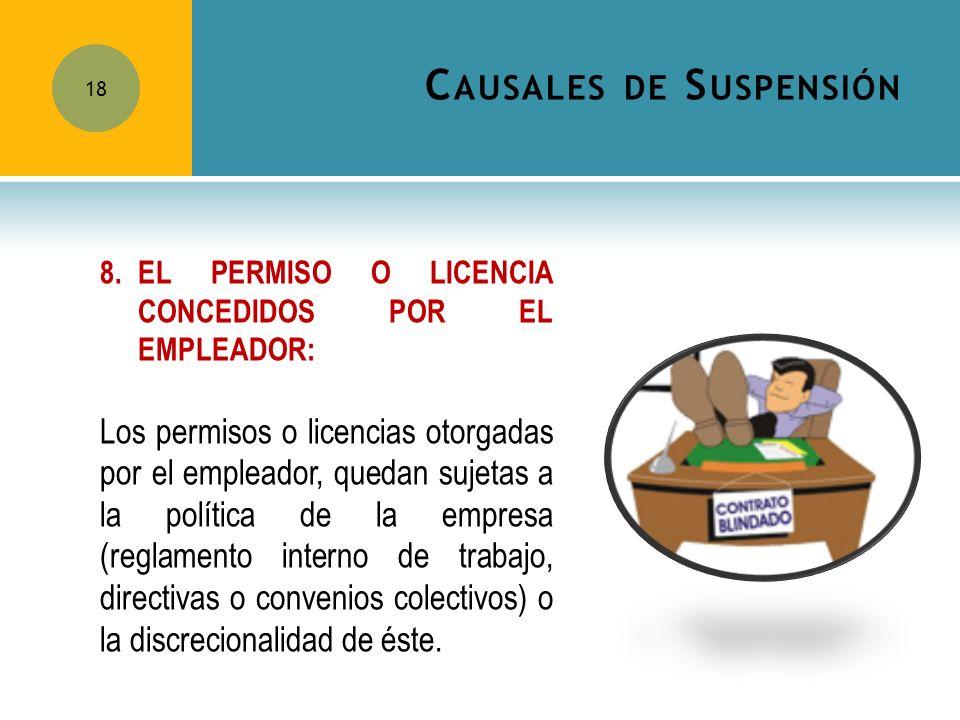 C AUSALES DE S USPENSIÓN 18 8.EL PERMISO O LICENCIA CONCEDIDOS POR EL EMPLEADOR: Los permisos o licencias otorgadas por el empleador, quedan sujetas a