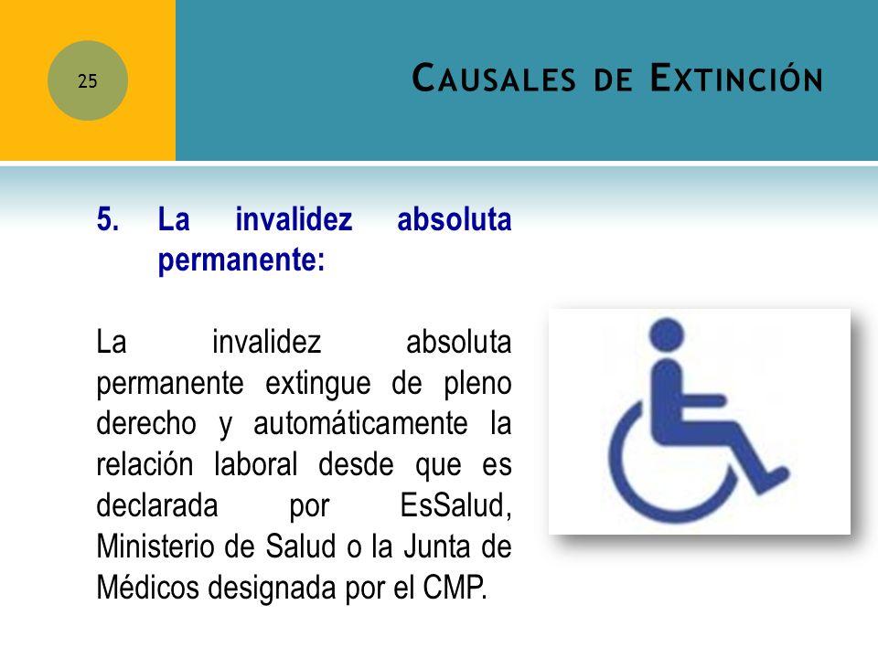 C AUSALES DE E XTINCIÓN 25 5.La invalidez absoluta permanente: La invalidez absoluta permanente extingue de pleno derecho y automáticamente la relació