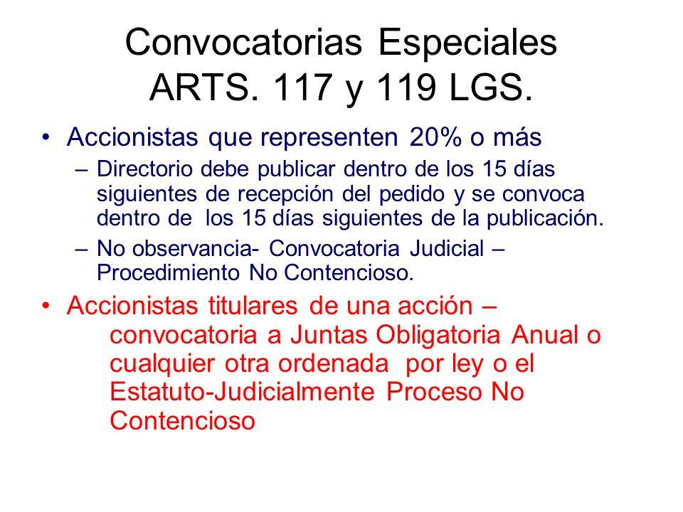 Convocatorias Especiales ARTS. 117 y 119 LGS. Accionistas que representen 20% o más –Directorio debe publicar dentro de los 15 días siguientes de rece