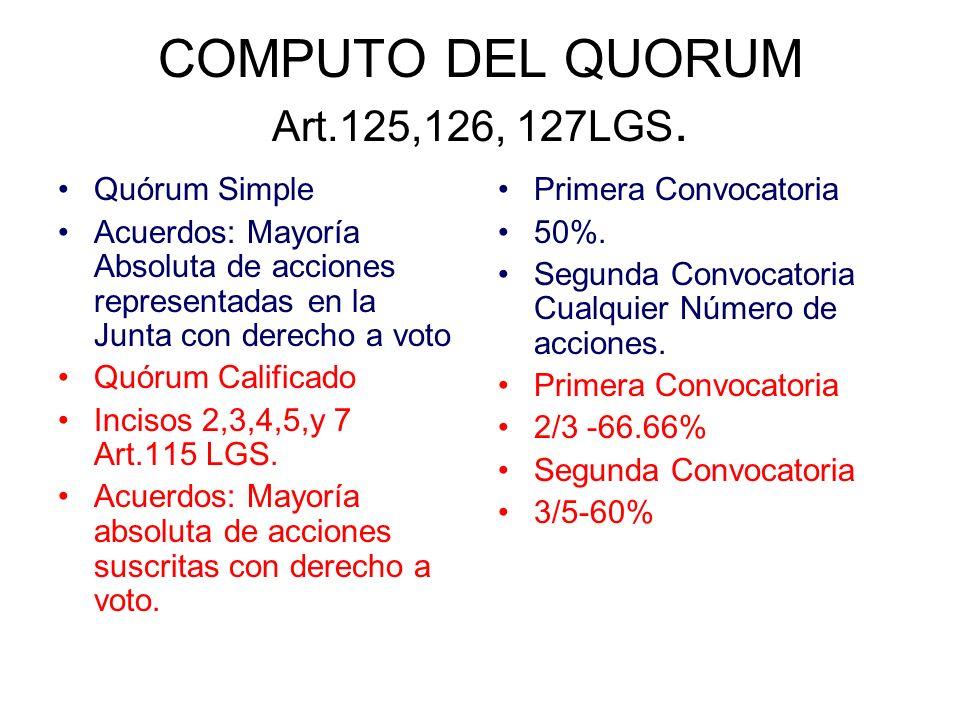 COMPUTO DEL QUORUM Art.125,126, 127LGS. Quórum Simple Acuerdos: Mayoría Absoluta de acciones representadas en la Junta con derecho a voto Quórum Calif