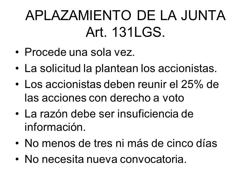APLAZAMIENTO DE LA JUNTA Art. 131LGS. Procede una sola vez. La solicitud la plantean los accionistas. Los accionistas deben reunir el 25% de las accio