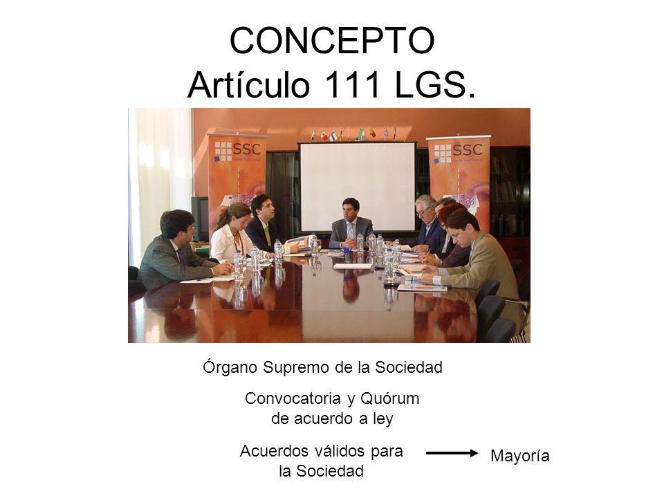 CONCEPTO Artículo 111 LGS. Órgano Supremo de la Sociedad Convocatoria y Quórum de acuerdo a ley Acuerdos válidos para la Sociedad Mayoría