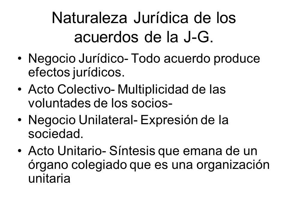 Naturaleza Jurídica de los acuerdos de la J-G. Negocio Jurídico- Todo acuerdo produce efectos jurídicos. Acto Colectivo- Multiplicidad de las voluntad