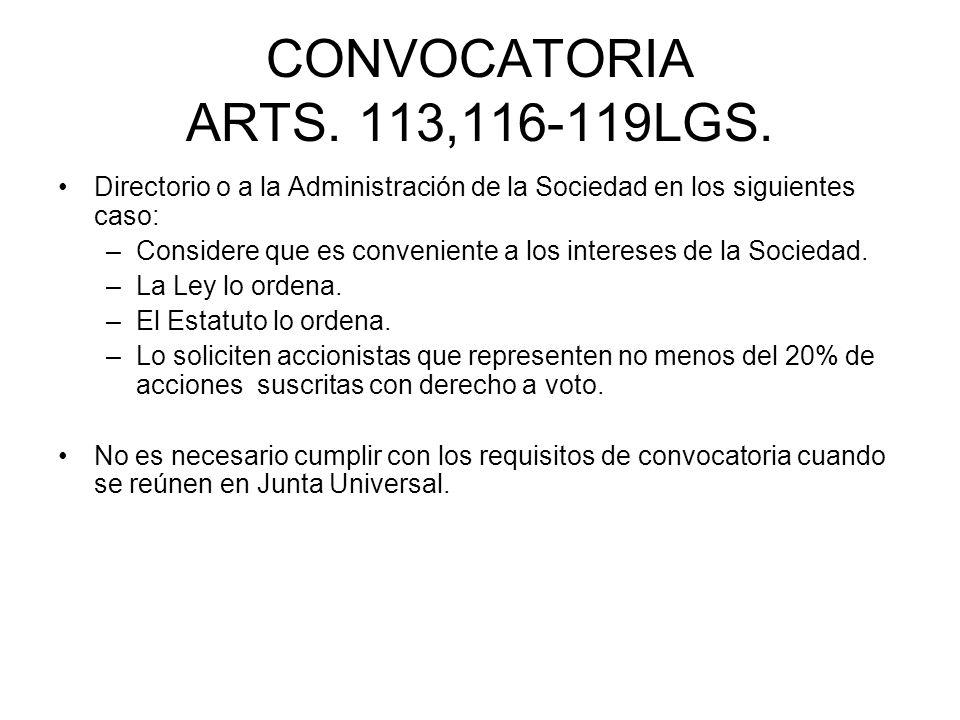 CONVOCATORIA ARTS. 113,116-119LGS. Directorio o a la Administración de la Sociedad en los siguientes caso: –Considere que es conveniente a los interes