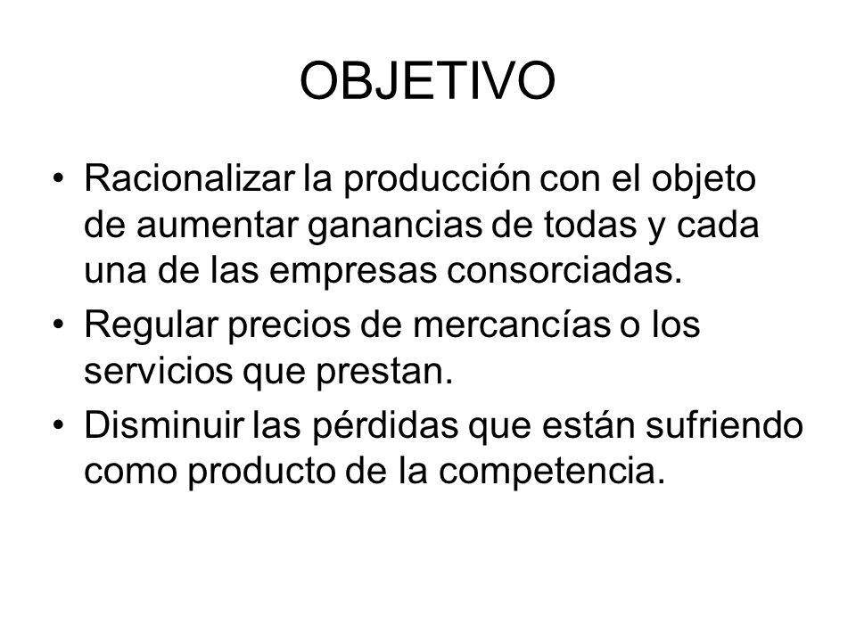 OBJETIVO Racionalizar la producción con el objeto de aumentar ganancias de todas y cada una de las empresas consorciadas. Regular precios de mercancía