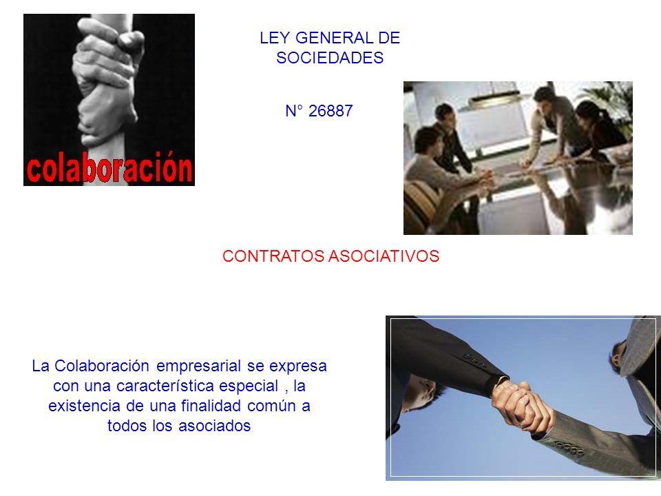 La Colaboración empresarial se expresa con una característica especial, la existencia de una finalidad común a todos los asociados CONTRATOS ASOCIATIV
