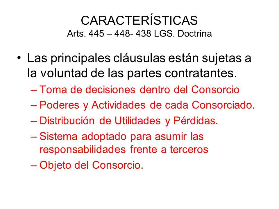 CARACTERÍSTICAS Arts. 445 – 448- 438 LGS. Doctrina Las principales cláusulas están sujetas a la voluntad de las partes contratantes. –Toma de decision