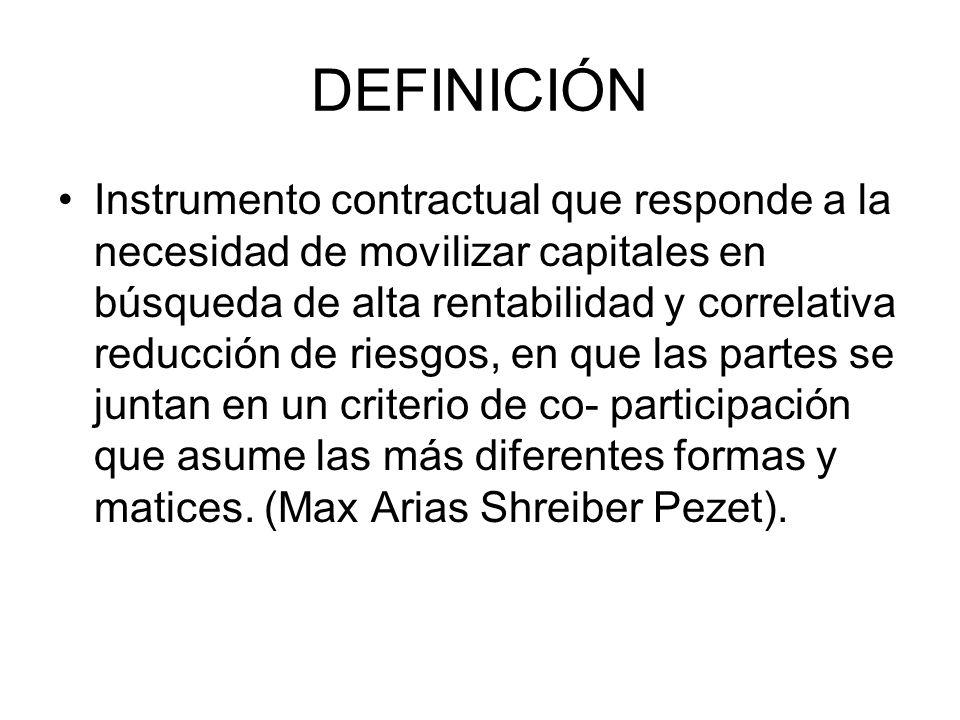 DEFINICIÓN Instrumento contractual que responde a la necesidad de movilizar capitales en búsqueda de alta rentabilidad y correlativa reducción de ries