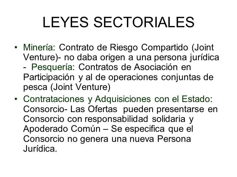 LEYES SECTORIALES Minería: Contrato de Riesgo Compartido (Joint Venture)- no daba origen a una persona jurídica - Pesquería: Contratos de Asociación e