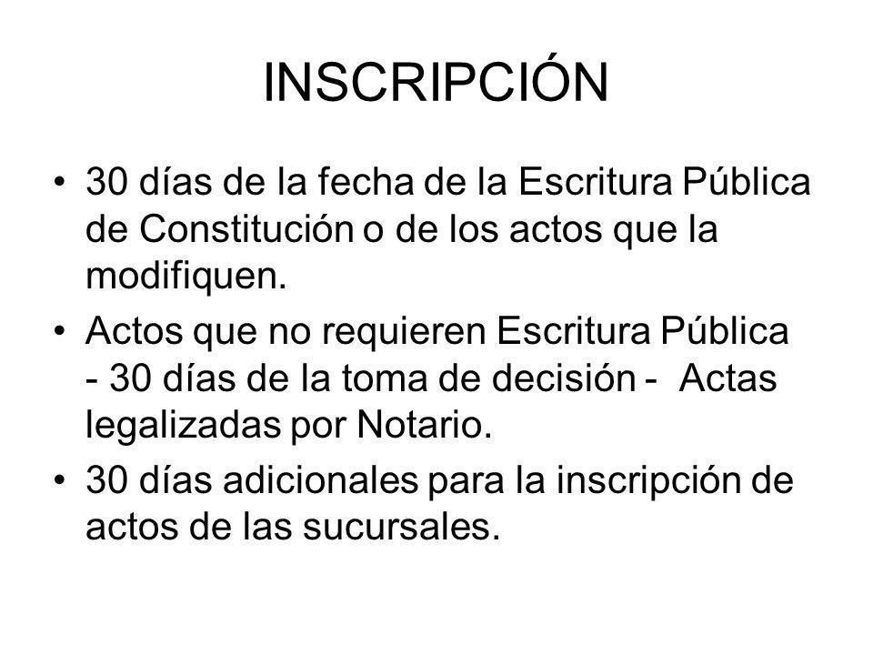 INSCRIPCIÓN 30 días de la fecha de la Escritura Pública de Constitución o de los actos que la modifiquen. Actos que no requieren Escritura Pública - 3