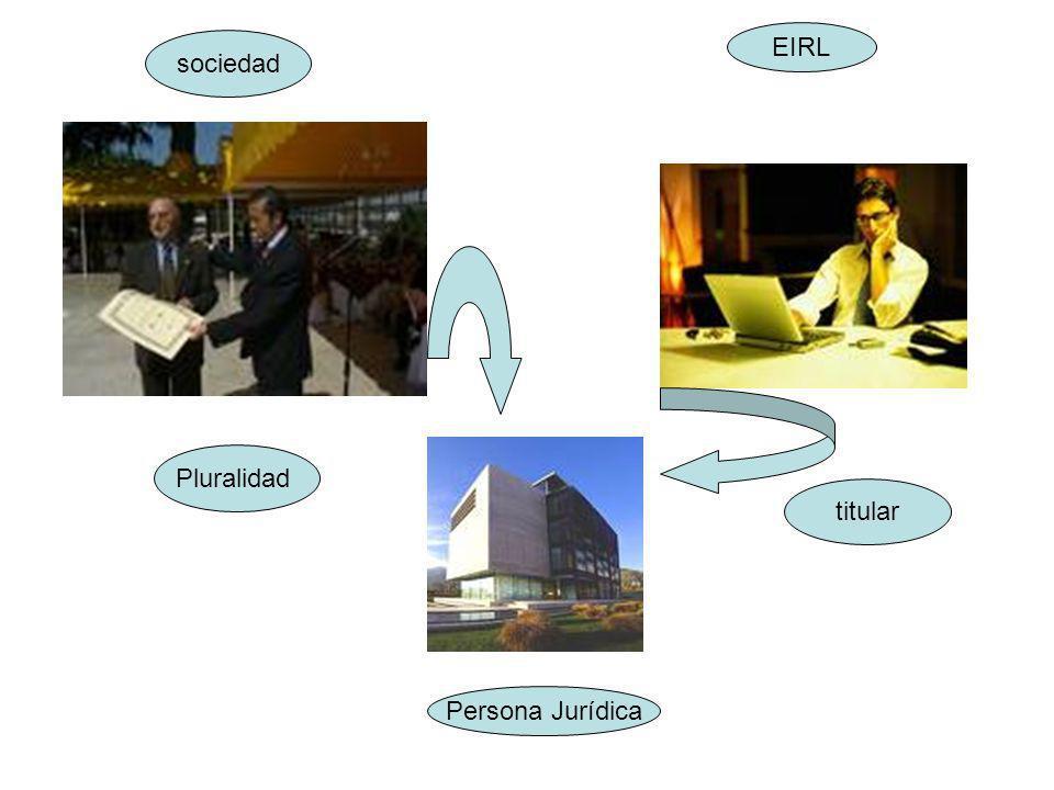 sociedad EIRL Pluralidad titular Persona Jurídica