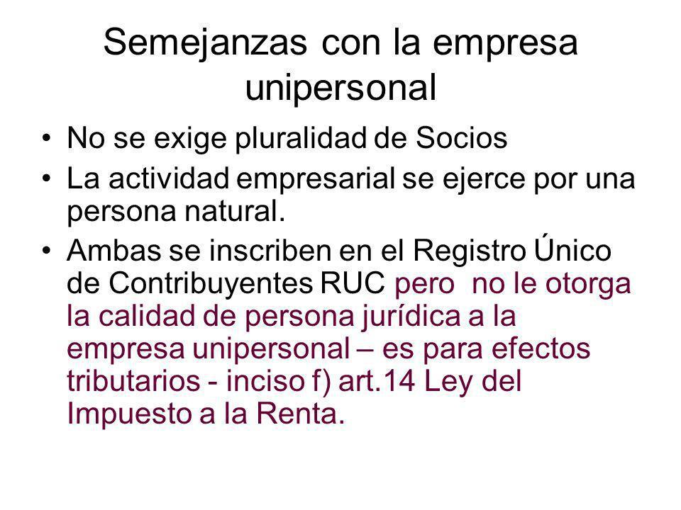 Diferencias –EIRL Forma una Persona Jurídica.