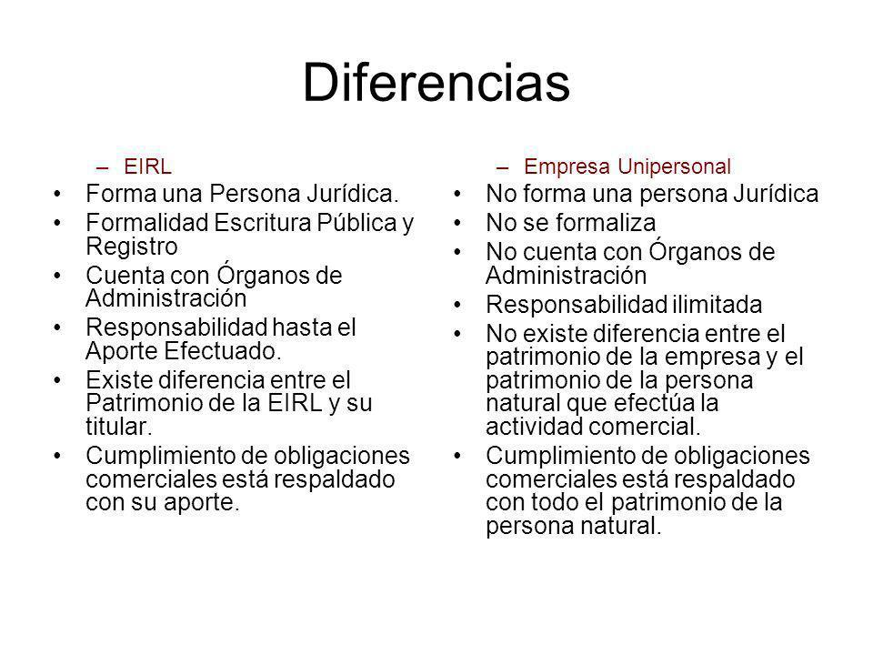 Diferencias –EIRL Forma una Persona Jurídica. Formalidad Escritura Pública y Registro Cuenta con Órganos de Administración Responsabilidad hasta el Ap