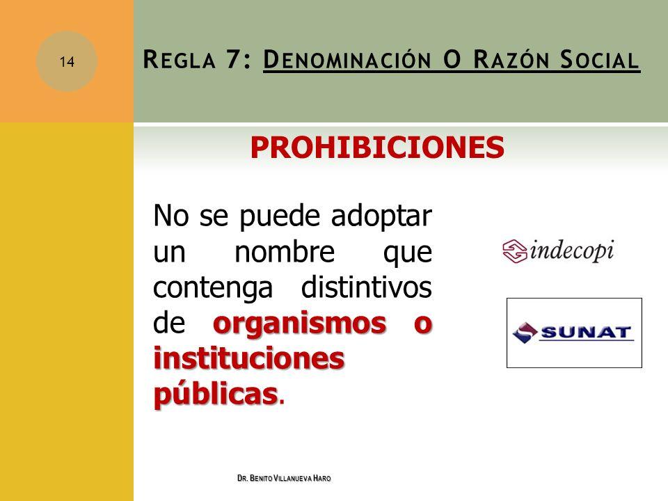 organismos o instituciones públicas No se puede adoptar un nombre que contenga distintivos de organismos o instituciones públicas. 14 R EGLA 7: D ENOM