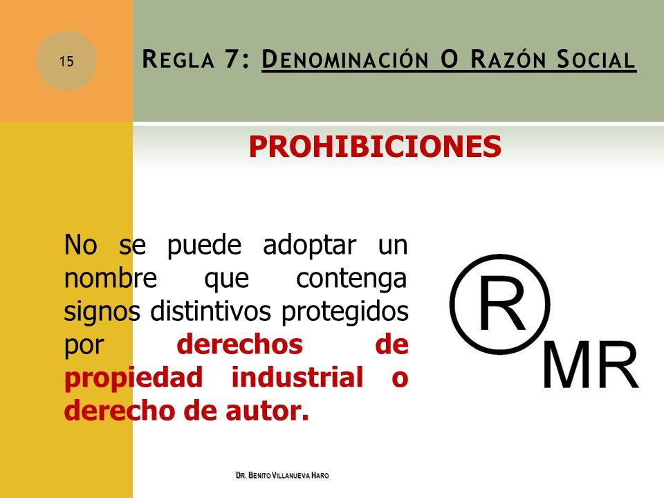 No se puede adoptar un nombre que contenga signos distintivos protegidos por derechos de propiedad industrial o derecho de autor. 15 R EGLA 7: D ENOMI