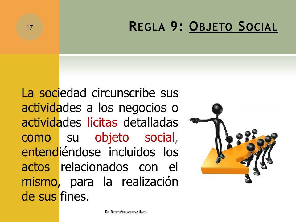 R EGLA 9: O BJETO S OCIAL La sociedad circunscribe sus actividades a los negocios o actividades lícitas detalladas como su objeto social, entendiéndos
