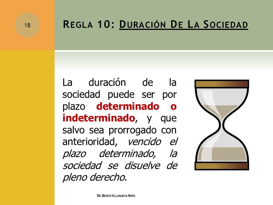 R EGLA 10: D URACIÓN D E L A S OCIEDAD La duración de la sociedad puede ser por plazo determinado o indeterminado, y que salvo sea prorrogado con ante