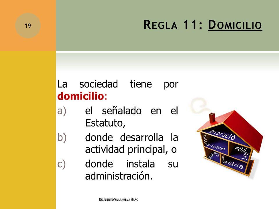 R EGLA 11: D OMICILIO La sociedad tiene por domicilio: a) el señalado en el Estatuto, b) donde desarrolla la actividad principal, o c)donde instala su