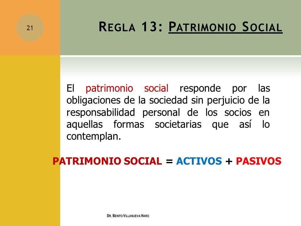 R EGLA 13: P ATRIMONIO S OCIAL El patrimonio social responde por las obligaciones de la sociedad sin perjuicio de la responsabilidad personal de los s