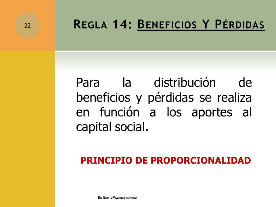 R EGLA 14: B ENEFICIOS Y P ÉRDIDAS Para la distribución de beneficios y pérdidas se realiza en función a los aportes al capital social. PRINCIPIO DE P